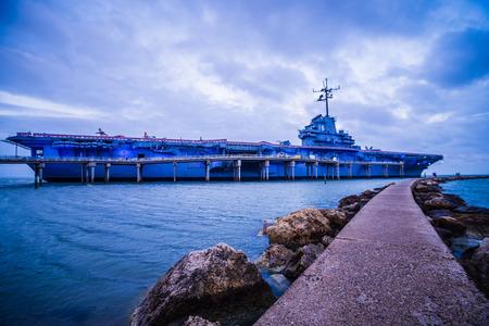 Aircraft carrier USS Lexington docked in Corpus Christi Stock Photo