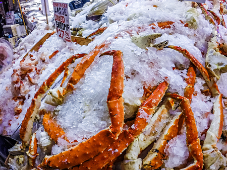 King Crab Legs from Pike Place Market Stock Photo