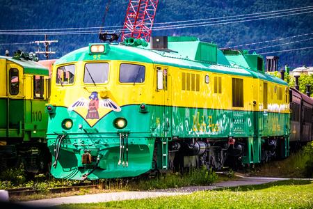 SKAGWAY, ALASKA, USA - JUNE 2017 - Alaskan Canadian White Pass train ride attraction through british columbia canadian rocky mountains Sajtókép