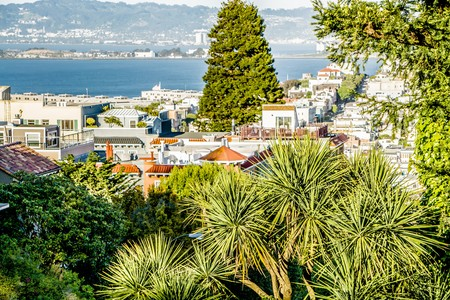 curve road: top city views from lombard street in san francisco california Stock Photo