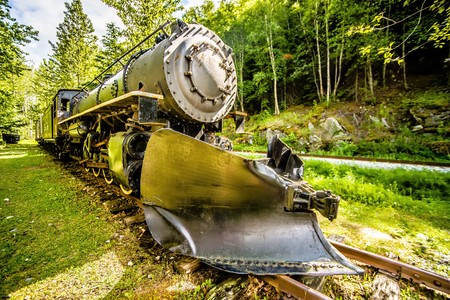 oude gepensioneerde witte pas trein in Skagway Alaska Stockfoto