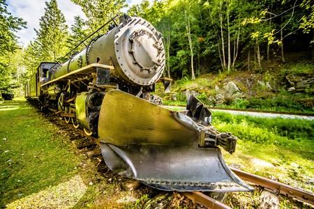 skagway 알래스카에서 오래 된 은퇴 한 흰색 패스 기차