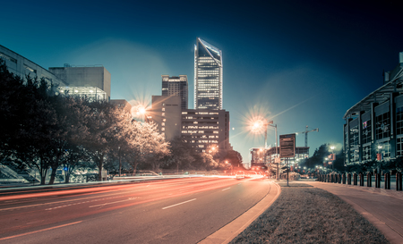 November, 2017, charlotte, nc, usa - early morning in the city of charlotte north carolina near panthers stadium 写真素材