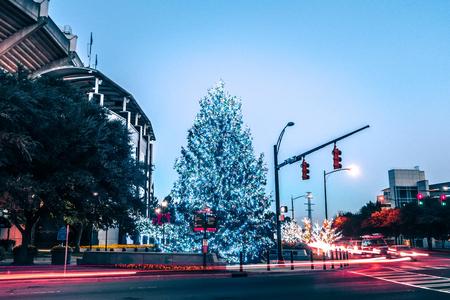 christmas season decorations around charlotte north carolina and panther stadium