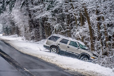 dangerous slippery and icy road conditions Stock Photo - 95222556