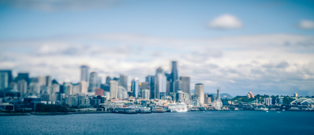 port of seattle and piers and surroundings on sunny day Stock Photo
