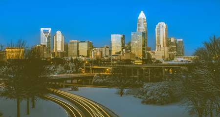 Charlotte nc usa skyline during and after winter snow storm in january  Stock Photo