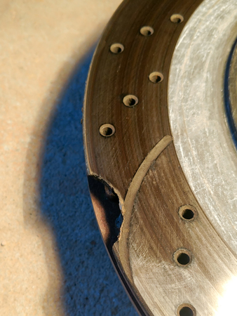 cracked and brocken break disk from a car
