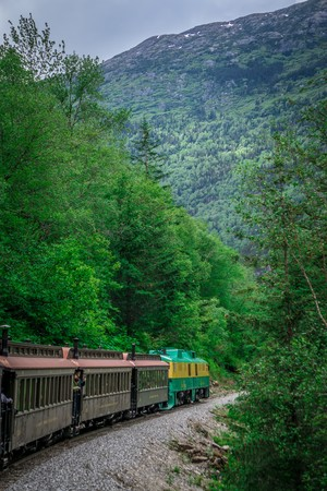 Scenic train from Skagway to White Pass Alaska