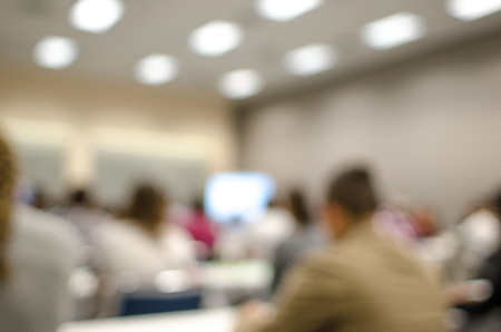 abstract defocused view in class room with students