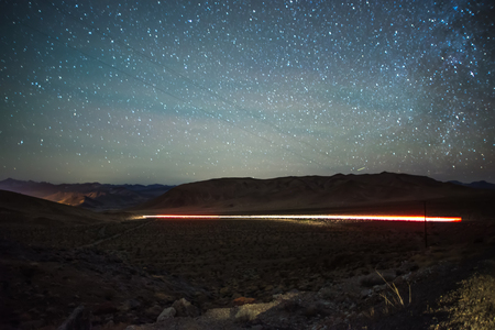 Long exposure shot at sunset in red rock canyon near las vegas Stock Photo