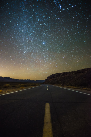 Night time and dark sky over death valley national park Stock Photo