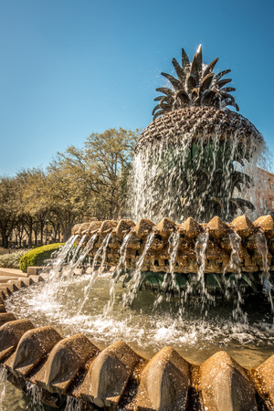 The Pineapple Fountain, at the Waterfront Park in Charleston Stock Photo