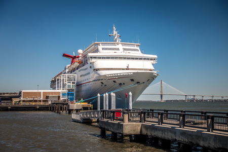 cruise ship in port of charleston south carolina on sunny day