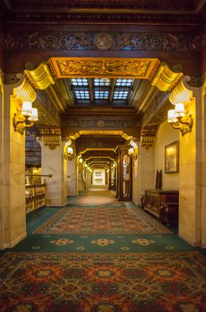 Luxury historic hotel lobby interior