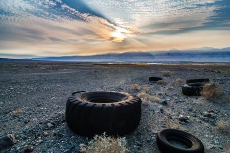 surreal Owens Lake at sunset in California Usa