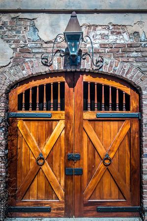 old historic castle wood door entry way