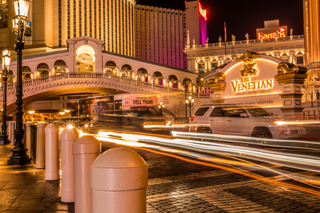 high energy electric long exposure of las vegas city streets at night Publikacyjne
