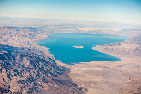 aerial view from plane of pyramid lake over nevada Stock Photo