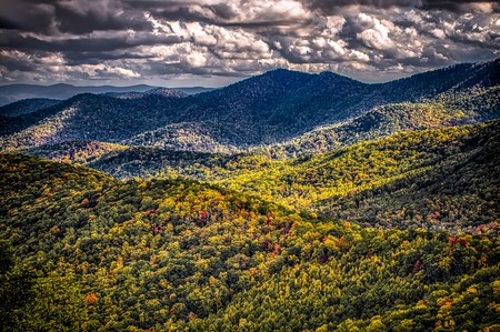 blue ridge and smoky mountains changing color in fall Stock Photo