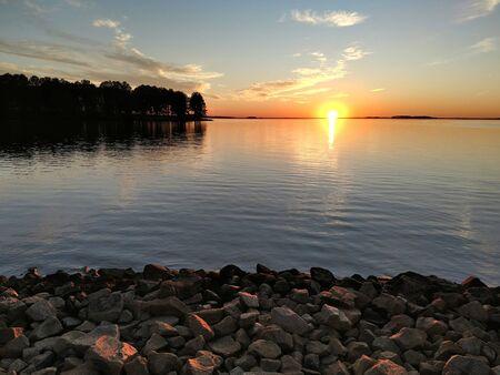monticello reservoir in south carolina at sunset Reklamní fotografie