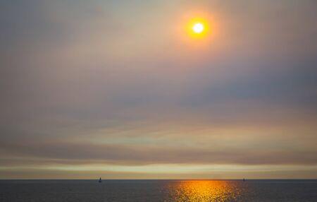 scenes around santa monica california at sunset on pacific ocean Stock Photo