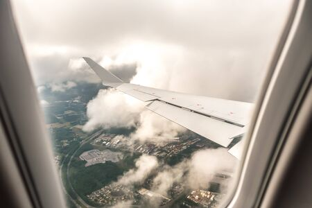 landing on a cloudy day at norfolk virginia airport Stock Photo