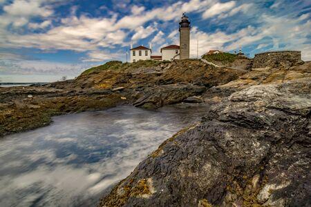Historic Beavertail Lighthouse jamestown rhode island 免版税图像
