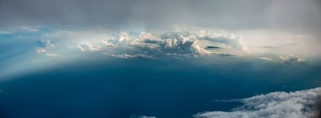 beautiful sky high view from airplane clouds
