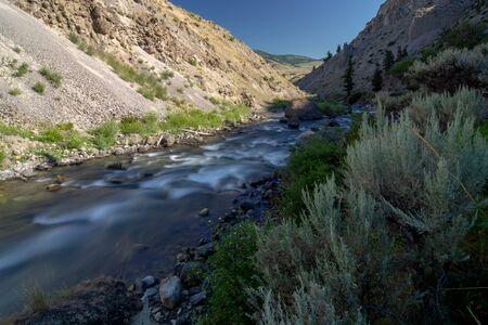 yellowstone river at sunrise near yellowstone park