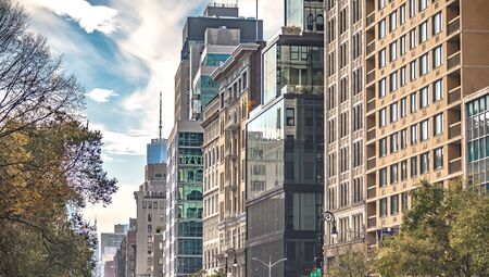new york city skyline in manhattan on sunny day