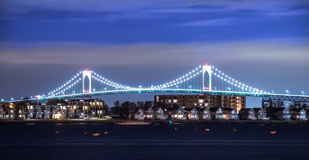 Claiborne Pell Bridge in Background at night in newport rhode island