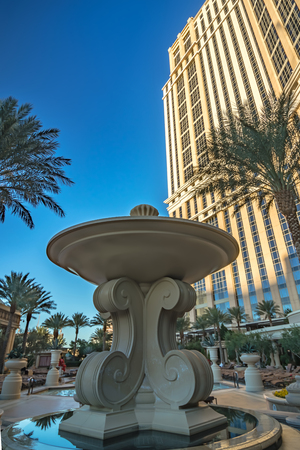 Exterior of the Palazzo Hotel, which is linked to The Venetian Hotel on Las Vegas Boulevard. 新聞圖片