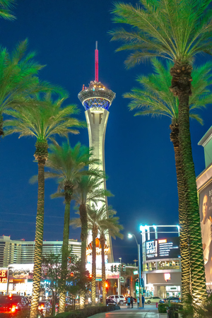 stratosphere las vegas at sunset evening time