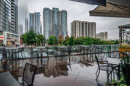 charlotte north carolina skyline on a rainy day
