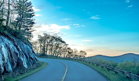 driving on blue ridge parkway in spring