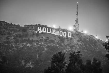 hollywood sign lit at night