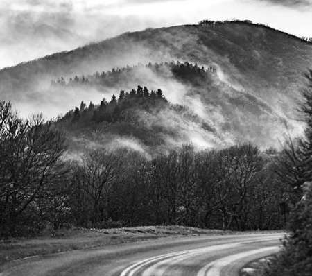 early morning drive through blue ridge parkway in spring 版權商用圖片 - 153170497