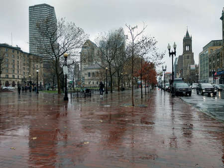 Rainy day in city of boston massachusetts 版權商用圖片 - 153170339