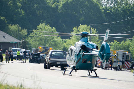 bad accident and rescue by helicopter emergency