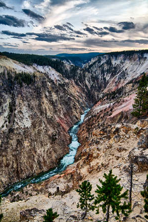 Lower falls of the yellowstone national park from artist point at sunset, wyoming in the usa 版權商用圖片