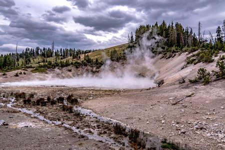 hot spring and geiser in yellowstone national par 版權商用圖片