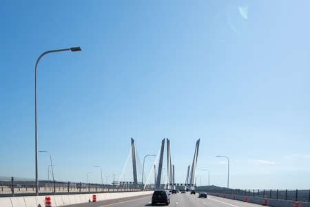Crossing the Governor Mario M. Cuomo Bridge (former Tappan Zee Bridge). It is spanning the Hudson River between Tarrytown and Nyack in the U.S. state of New York