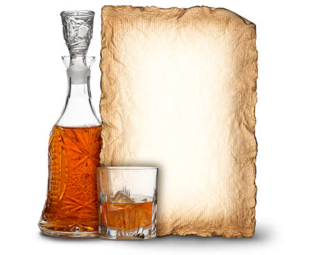 Whisky decanter, glass and blank card Stock Photo - 10472605