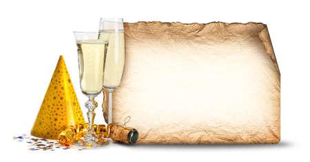invitacion fiesta: Invitaci�n de la fiesta - copas de champ�n