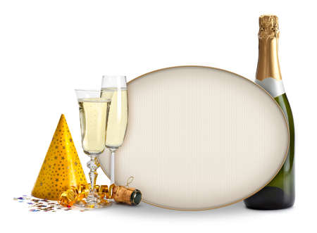 champagne flute: Champagne and blank card - Party invitation Stock Photo