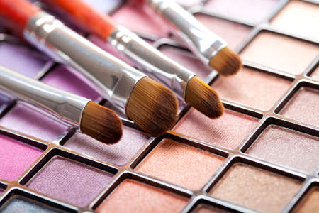 Eye shadows palette and professional brushes photo