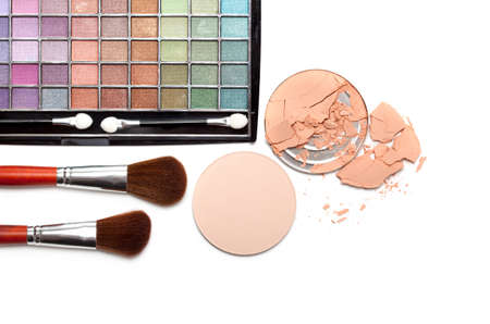 Make up - brushes and eye shadows palette photo