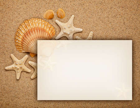 Summer background - shells on sand and blank card photo