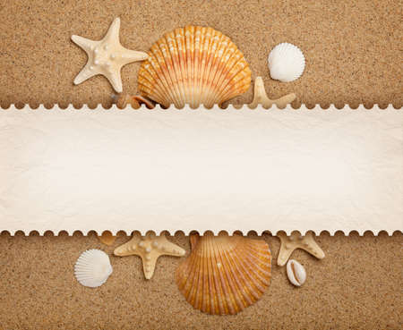 Shells, sand and blank card